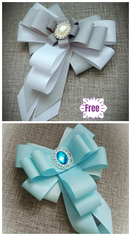 DIY Bead Ribbon Bow Brooch Tutorial - Video