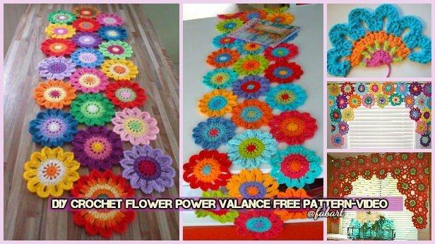 Diy Crochet Flower Power Valance Free Pattern
