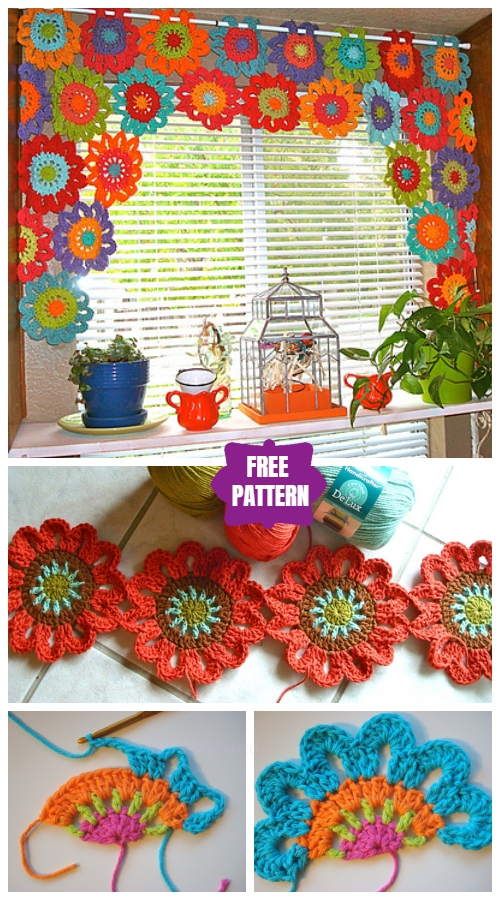 DIY Crochet Flower Power Valance Free Crochet Pattern - Video