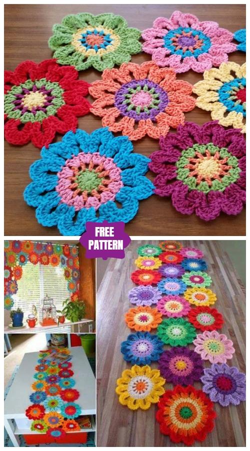 DIY Crochet Flower Power Valance Free Crochet Pattern - Video