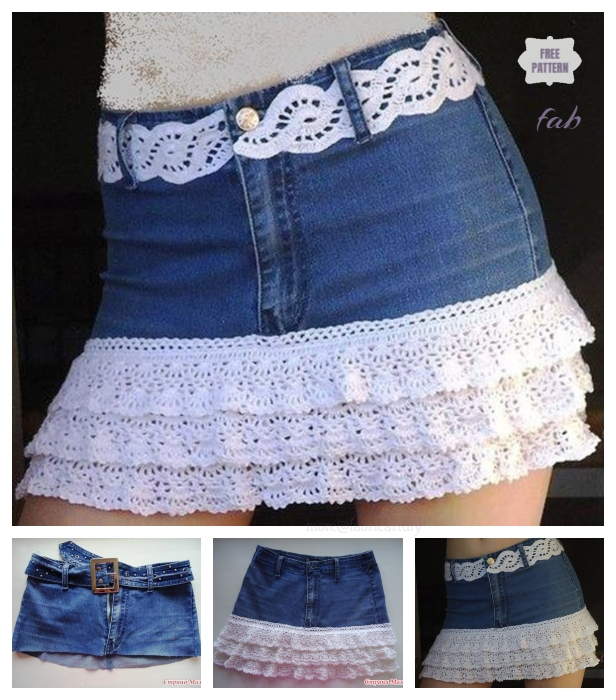 20+ Fabulous DIY Ideas and Tutorials to Refashion Your Old Jeans - Crochet Layered lace skirt from old jeans D.I.Y Tutorial