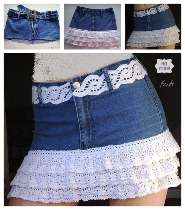 DIY Crochet layered Skirt from Old Jean - Free Pattern