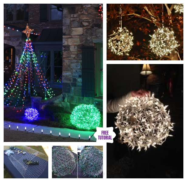 DIY LED String Light Giant Chicken Wire Christmas Light Ball Tutorials - Video