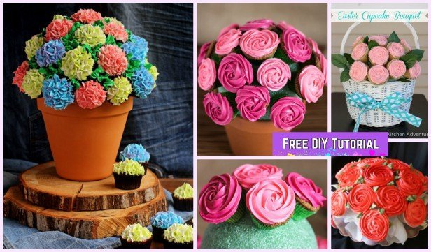 DIY Rose Flower Cupcake Bouquets Tutorials