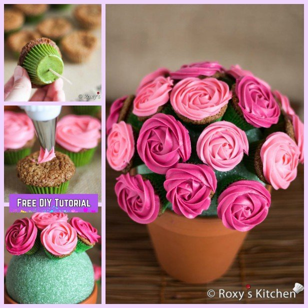 DIY Rose Flower Cupcake Bouquets Tutorials - DIY Flower Pot Rose Bouquet Recipe