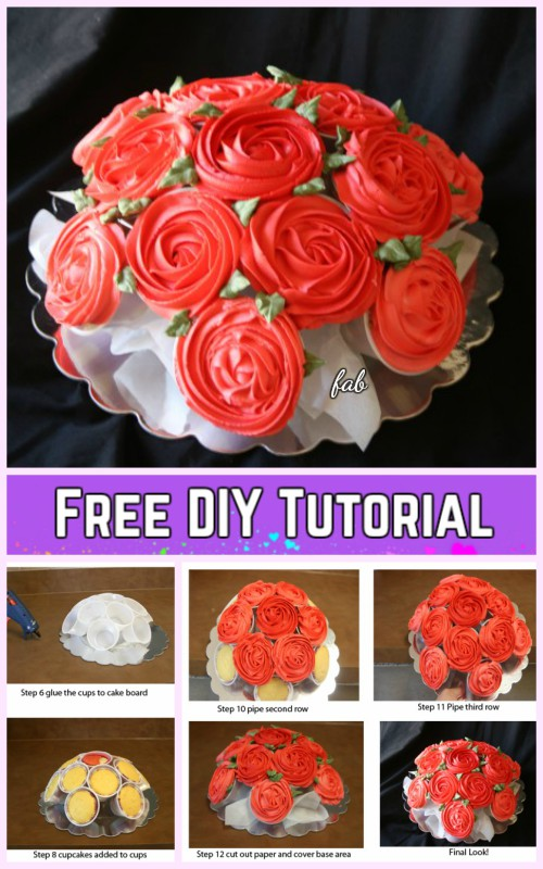 DIY Rose Flower Cupcake Bouquets Tutorials - DIY Rose Bouquet Cupcakes Recipe