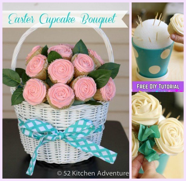 DIY Rose Flower Cupcake Bouquets Tutorials - DIY Easter Cupcake Bouquet Recipe