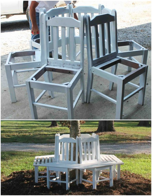 How To Build Recycled Diy Chair Tree Bench Tutorial