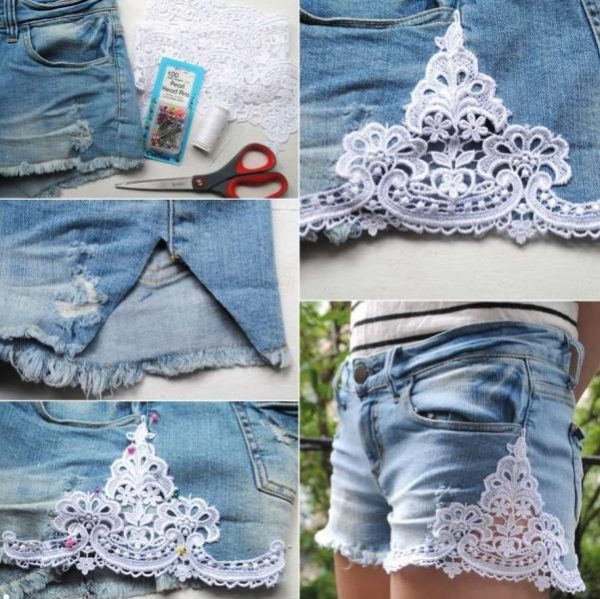 DIY Lace Trim Jean Shorts Refashion Ideas Tutorials