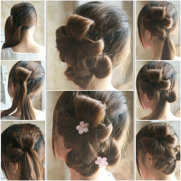 Double floral ponytail updo hairstyle