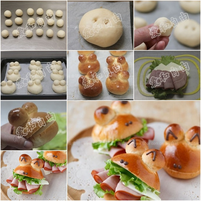 How to Make Mini Frog Sandwich With Ham and Cheese