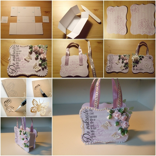 How to make beautiful paper gift handbag fab art diy - How to make a gift with paper ...