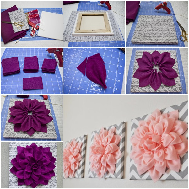 How to diy beautiful 3d felt dahlia flower wall art fab for 3d flowers for wall decoration