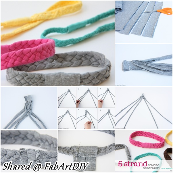 5 strand braid headband from old Tshirts f