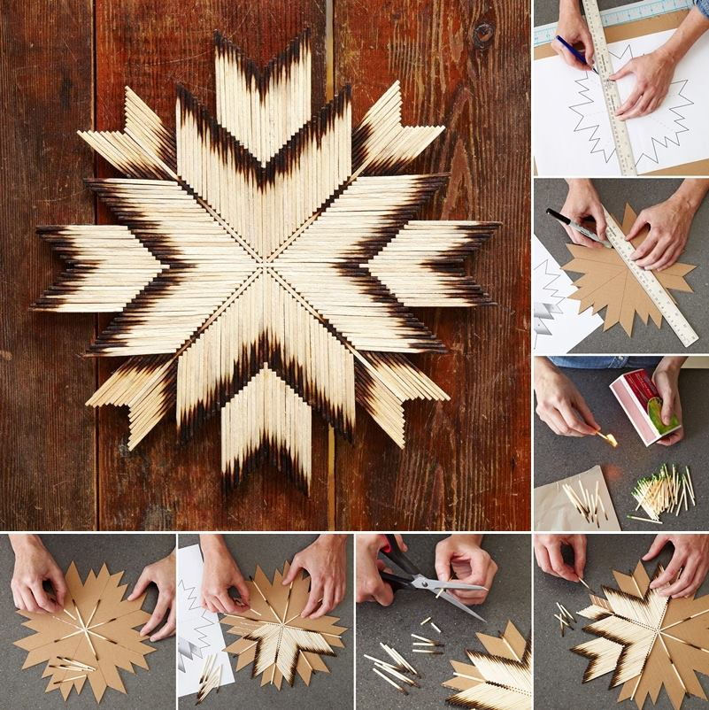 Amazing Wall Art how to diy amazing burnt matchsticks star wall art - fab art diy