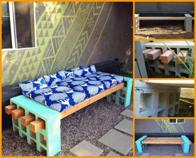 diy outdoor seating cinder block bench