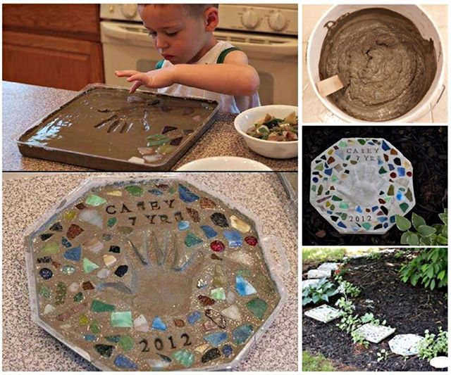 How to DIY Cute Handprint Cement Stepping Stone tutorial