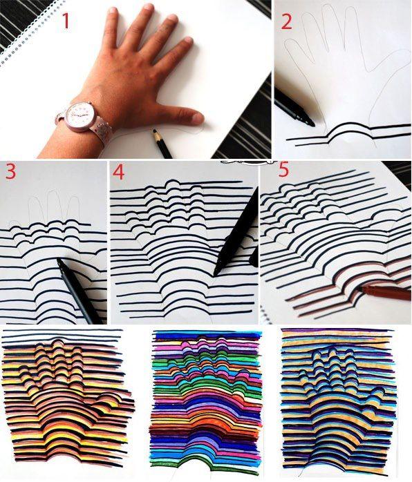 Diy Wall Art Drawing : How to make d hand drawing