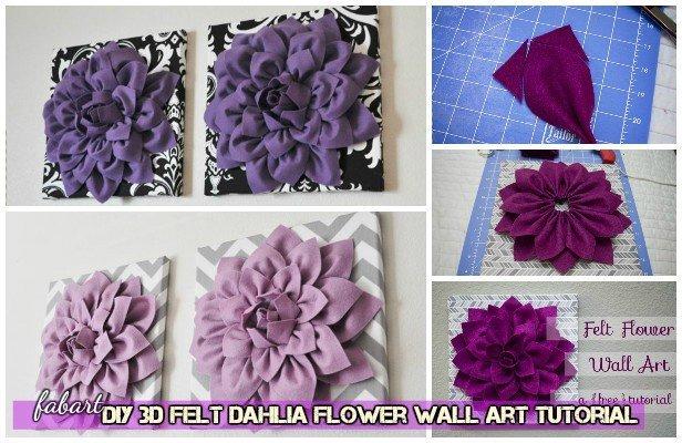 Diy Beautiful 3d Felt Dahlia Flower Wall Art