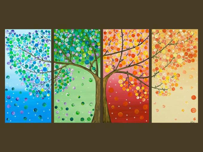 DIY 4 Season Button Tree Canvas Wall Art Tutorial