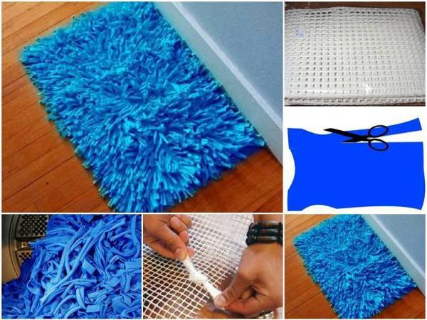 Diy eco bath rug from old t shirts for Pataka bano food mat