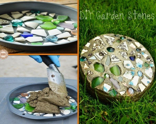 Diy cake pan mosaic garden stepping stone for Diy garden stepping stones