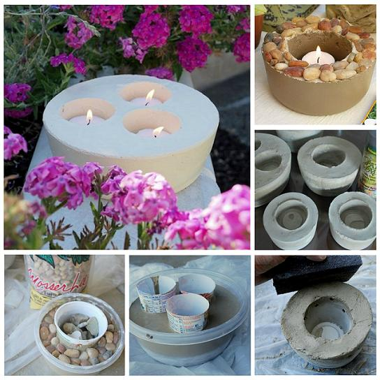 How to diy garden and home cement candleholders for How to make designs in concrete
