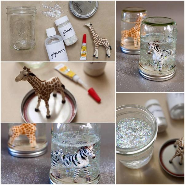 DIY Glitter Snow Globes from Mason Jars