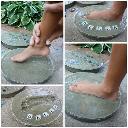 diy cute handprint cement stepping stone