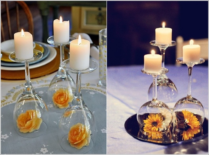 Diy inverted wine glass centerpieces for Wine centerpiece ideas