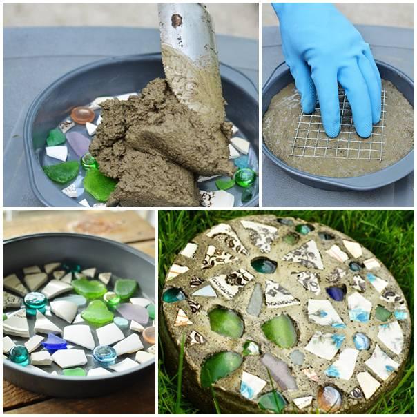 DIY Cake Pan Mosaic Stepping Stone tutorial