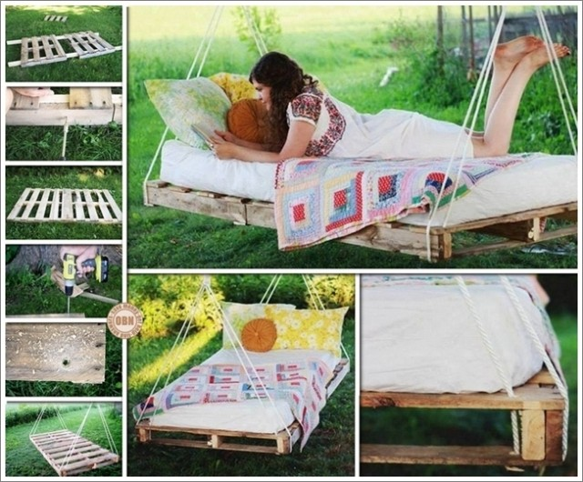 Diy outdoor pallet swing bed tutorial for How to make a porch swing bed