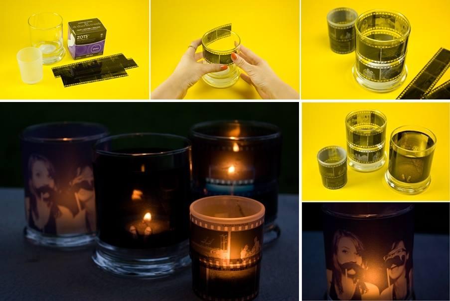 DIY Photo Negatives Candle Holders