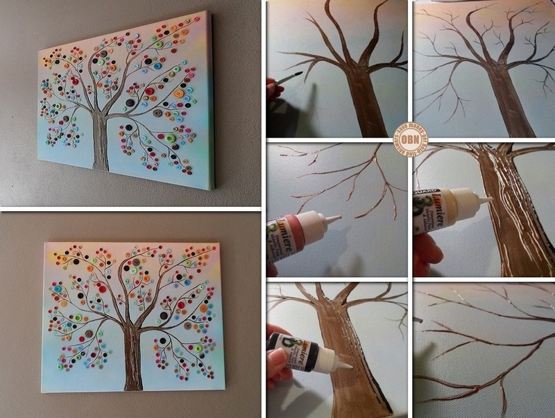 DIY button tree on canvas wall art