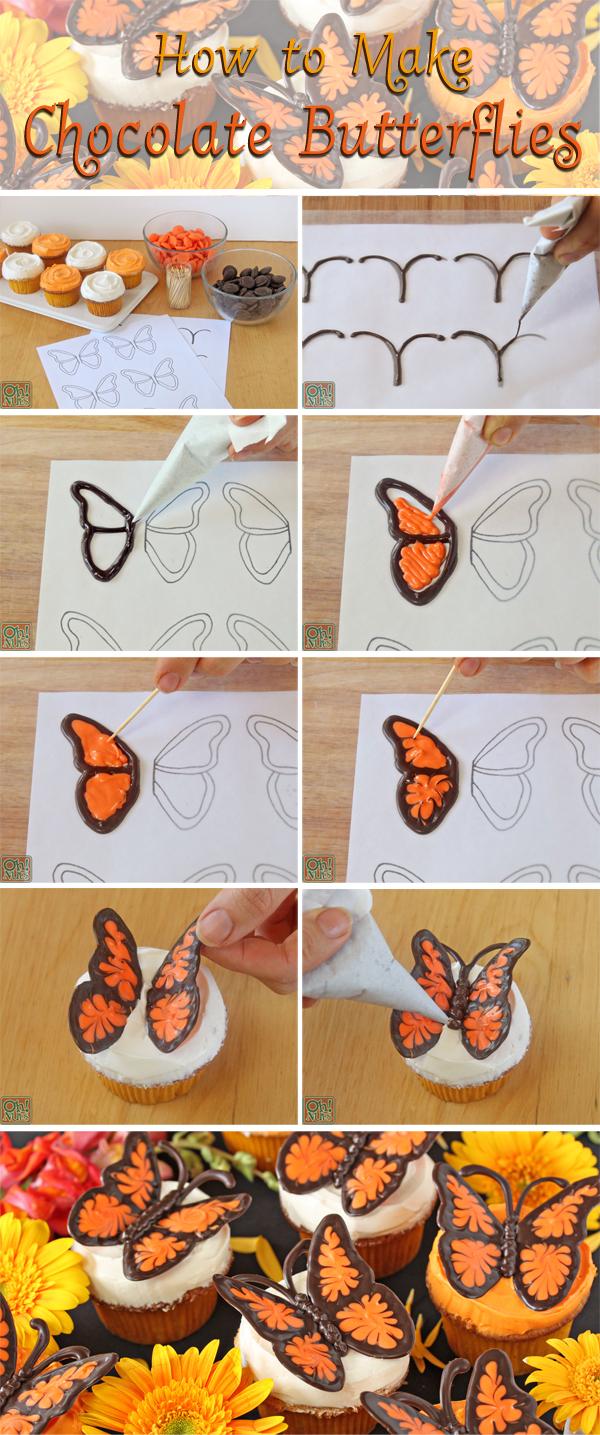 DIY Chocolate Butterflies Cupcake Topping