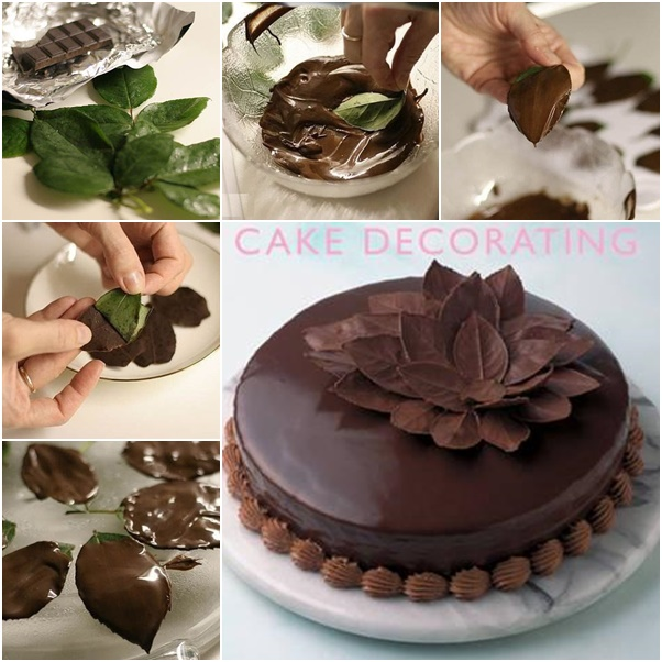 How to make chocolate leaves cake topper decorating tutorial with video
