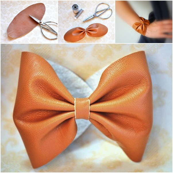 DIY leather bow bracelet