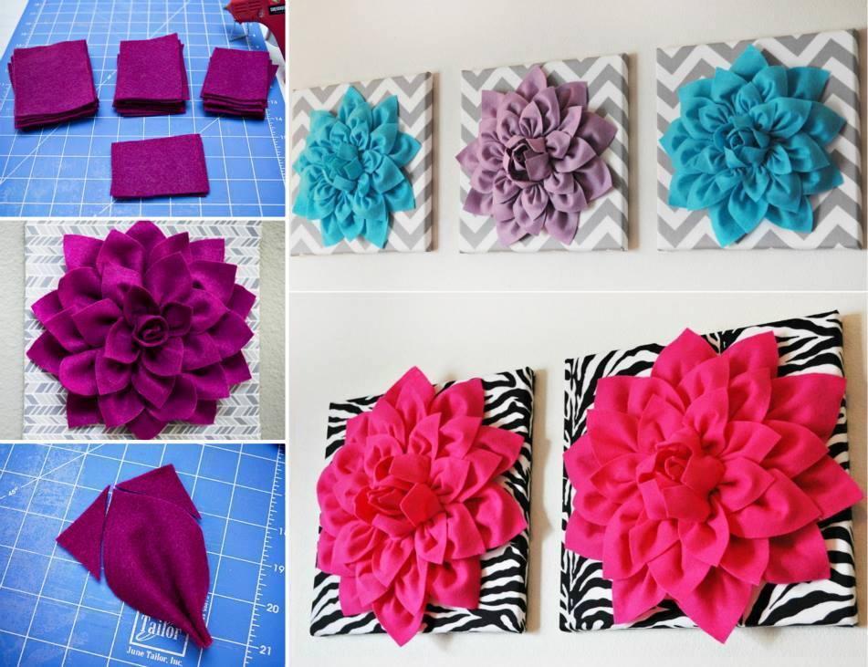 How To Diy Beautiful 3d Felt Dahlia Flower Wall Art Fab