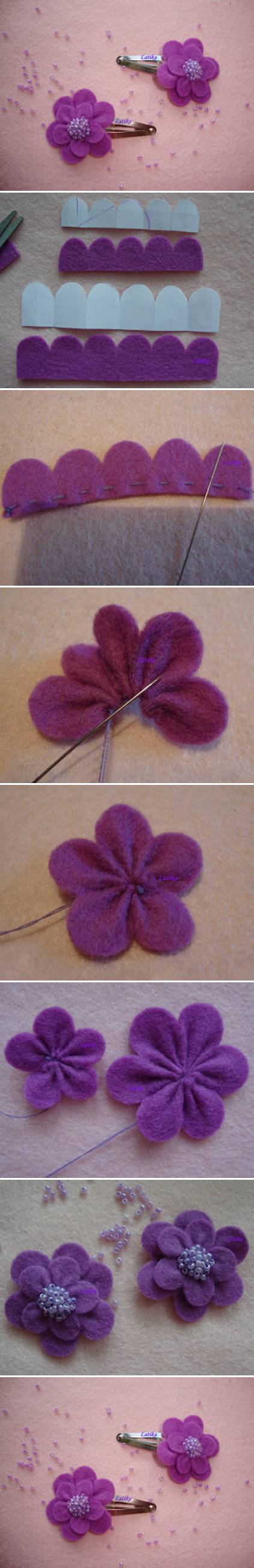 Felt flower hairclip tutorial
