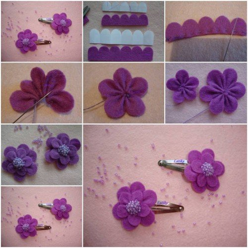 How to diy simple felt morning flower for Small flowers for crafts