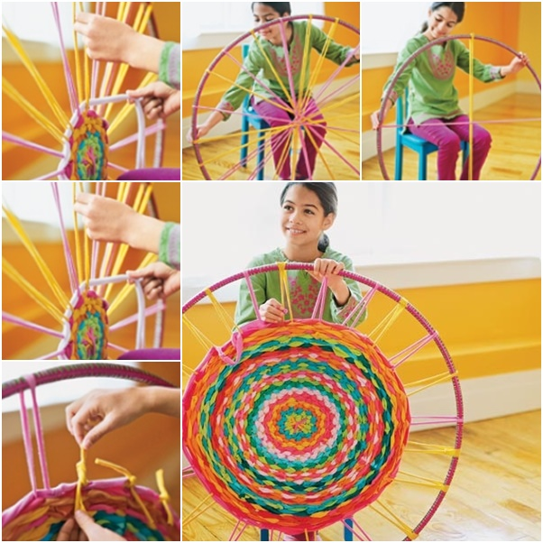 How To Weave Hula Hoop Rug from t-shirt