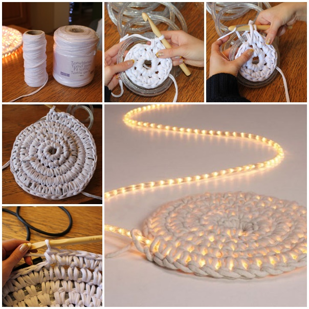 Crochet LED Illuminated String Light Rug Free Crochet Pattern