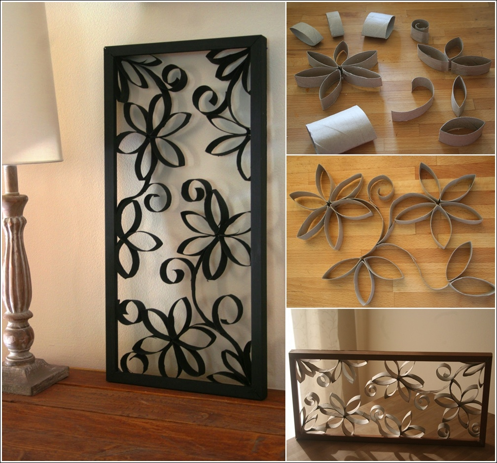 Diy metal looking flower wall art from paper roll www for Diy paper wall art