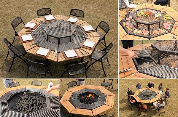 Multi Purpose Jag Grill Firepit BBQ Table