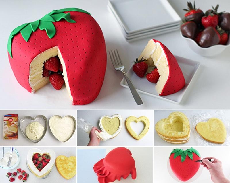 DIY Strawberry Surprise Cake