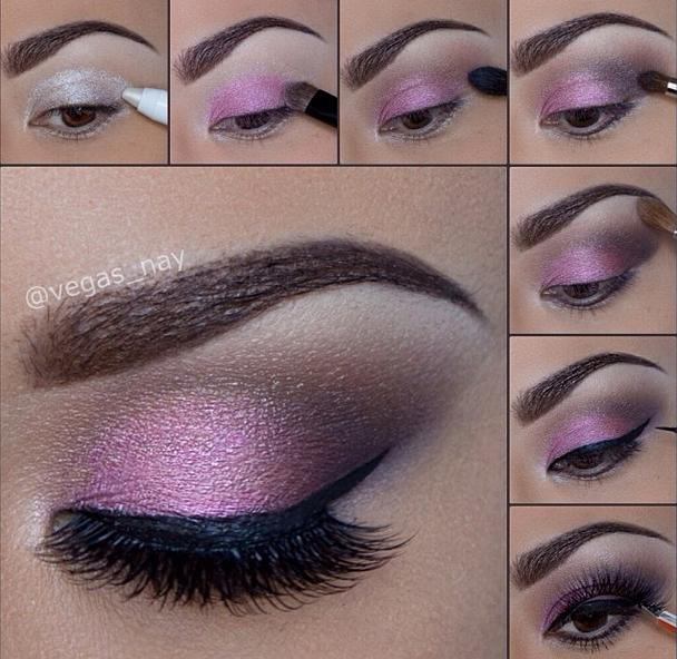 Stunning Shimmery Smokey Eye Makeup DIY Tutorials - hot pink smokey eye