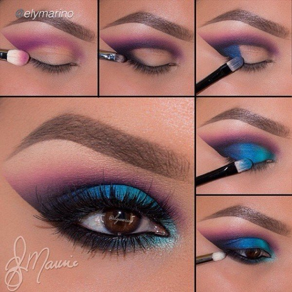 Stunning Shimmery Smokey Eye Makeup DIY Tutorials - peacock eye makeup