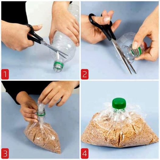 TIP-close off bags with a bottle top
