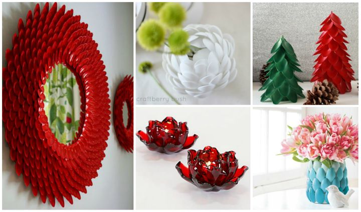 top 15 diy plastic spoon decoration ideas - At Home Home Decor