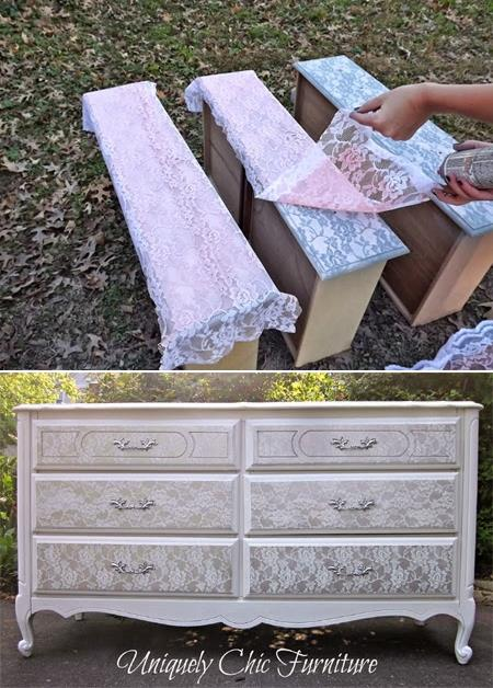 Transform old furniture with lace and spray paint